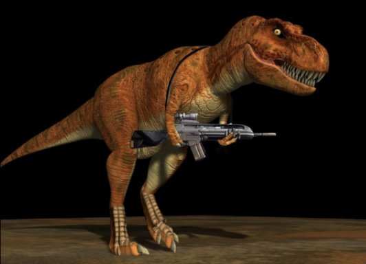 T REX WITH A GUN